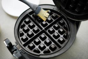 greasing waffle iron