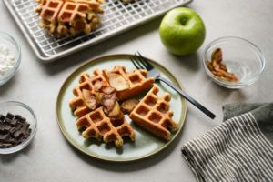 protein waffle with cinnamon apples