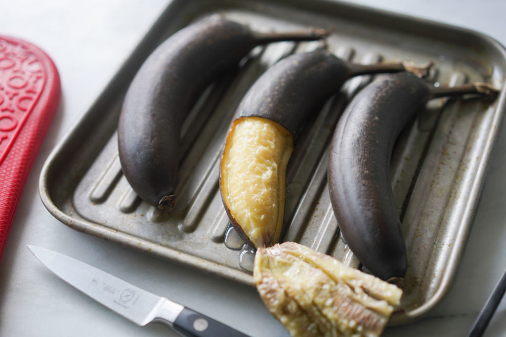 whole bananas baked in the oven