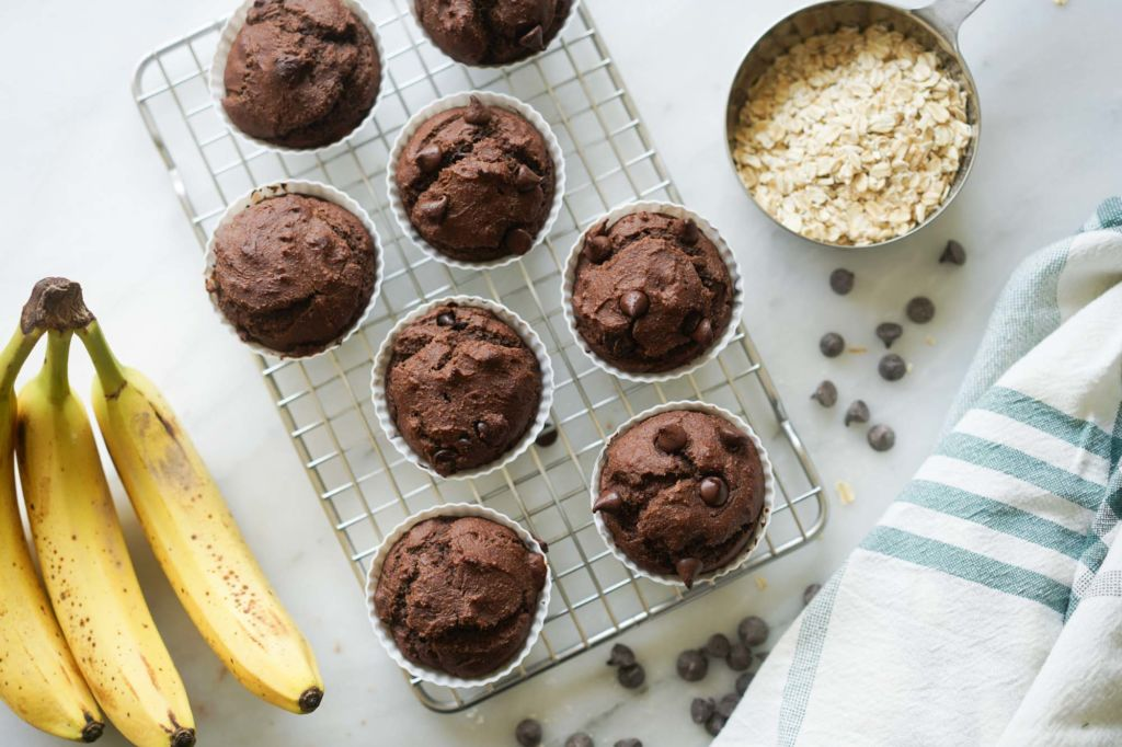cooling grid of hot banana protein muffins