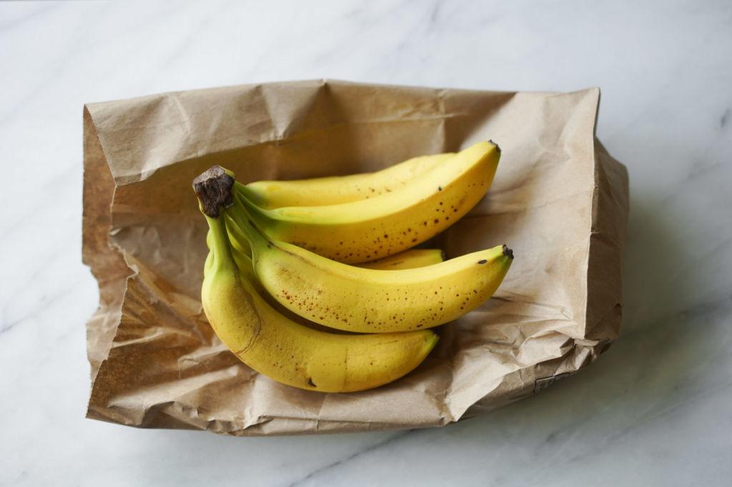 bananas on a paper bag