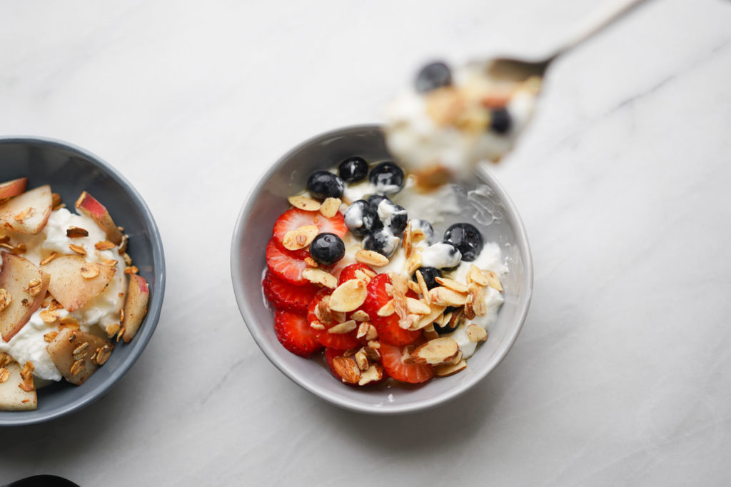 Very Berry bowl: Greek yogurt with strawberries, blueberries, toasted sliced almonds and honey