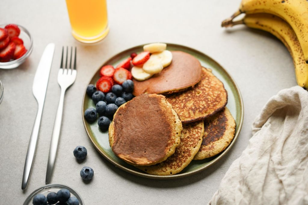 plate of banana protein pancakes