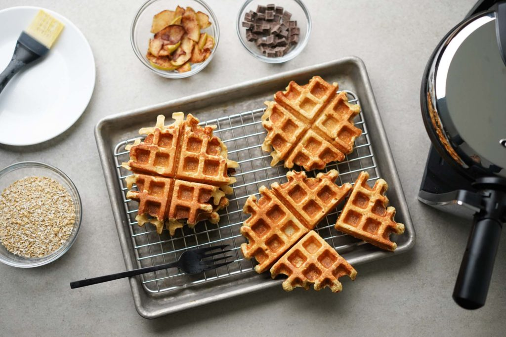 protein waffles cooling on a grid