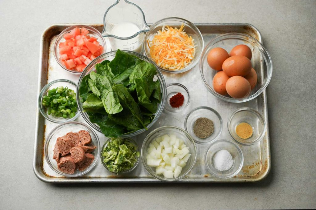 tray of quiche filling ingredients