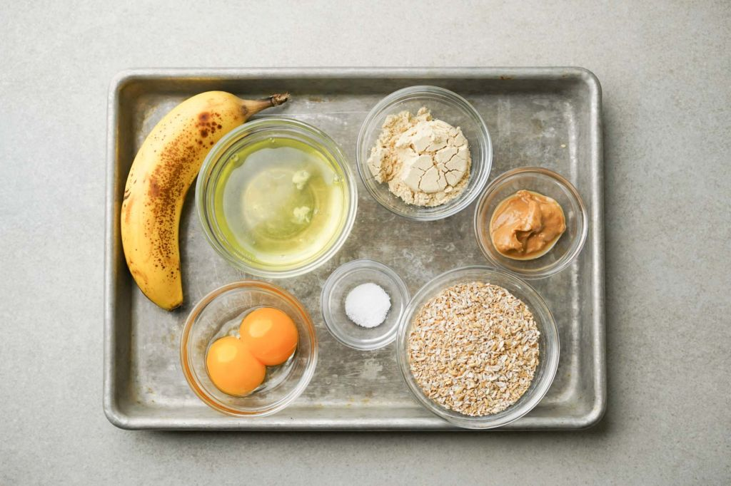ingrdients for banana protein pancakes