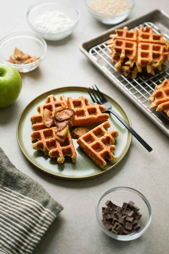 protein waffle with cinnamon apple topping