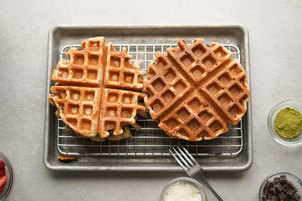 oatmeal waffles cooling on a rack
