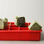 frozen basil cubes closeup
