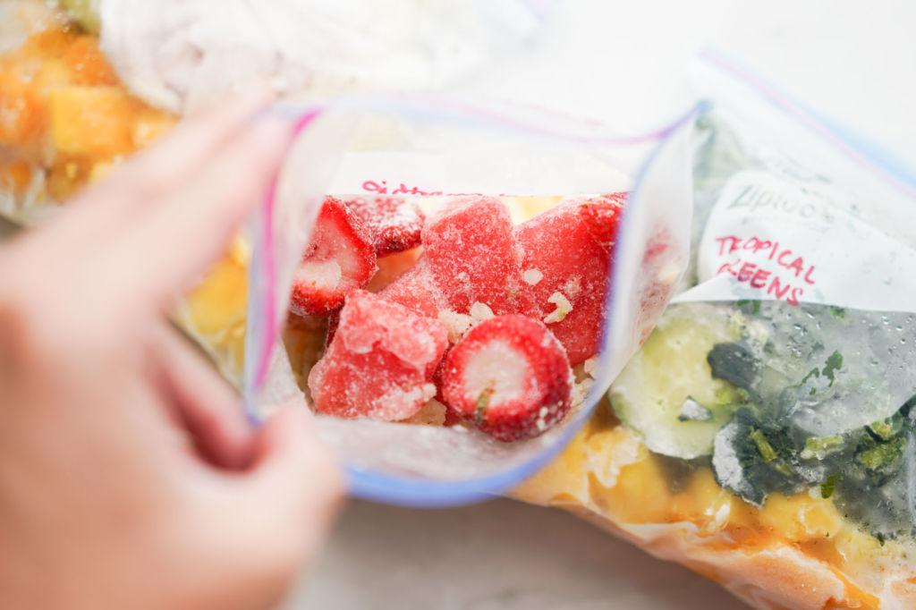 bag of frozen red berries