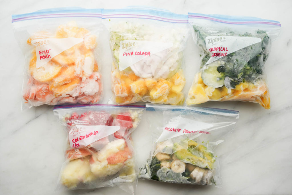 five frozen smoothie packs