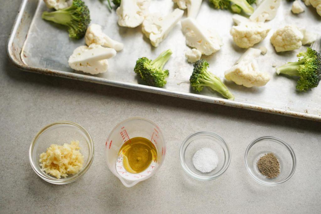 bowls of salt, pepper, seasoning, oil
