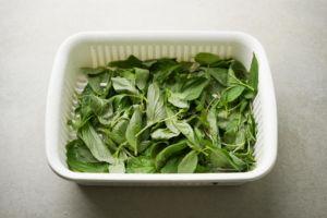 washed basil leaves
