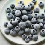 frozen blueberries closeup