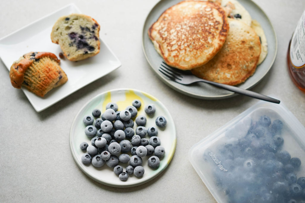blueberry muffin and blueberry pancakes