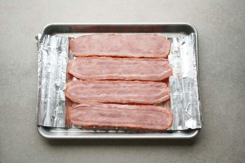 tray of raw turkey bacon