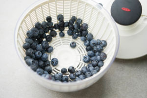 drying blueberries in salad spinner