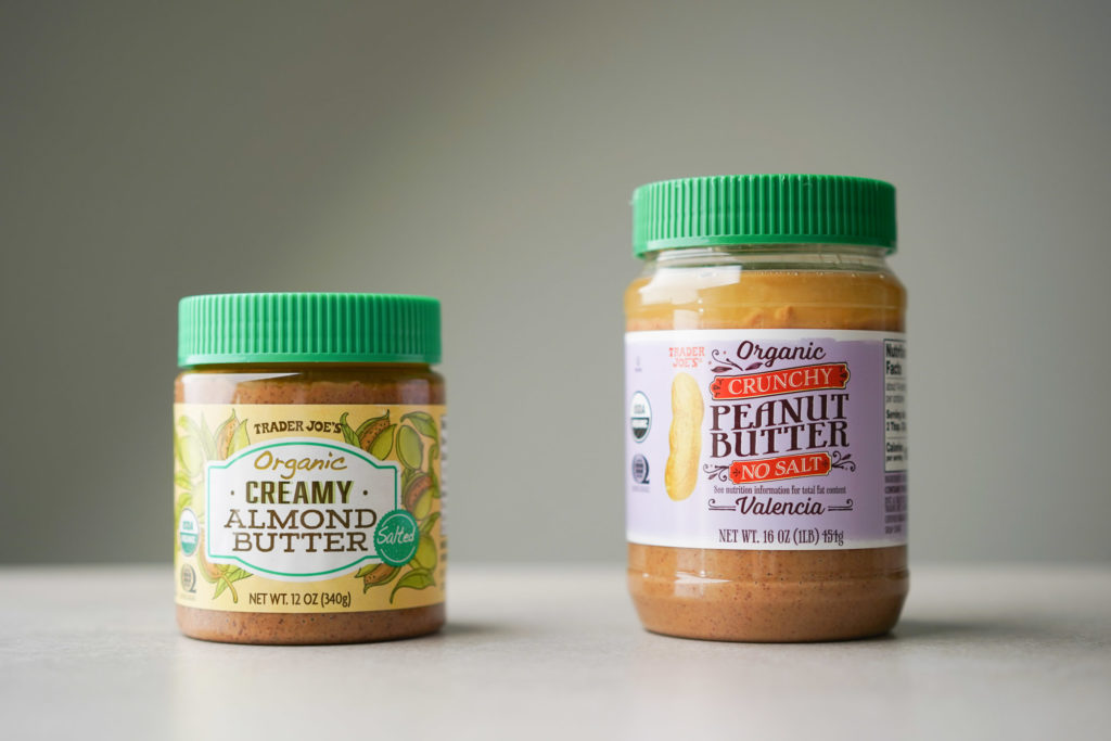 jars of creamy almond butter and peanut butter