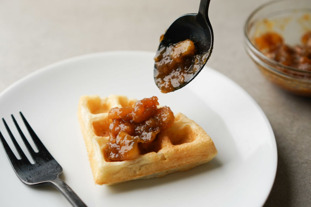 fruit compote on waffle