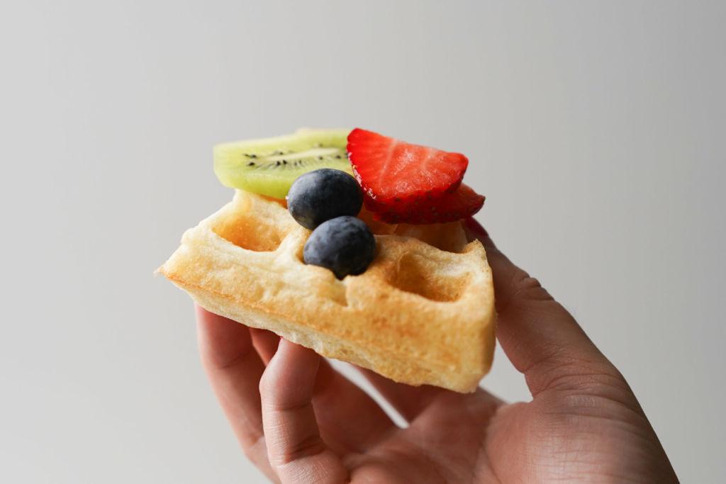 kiwi, strawberry, blueberry on waffle