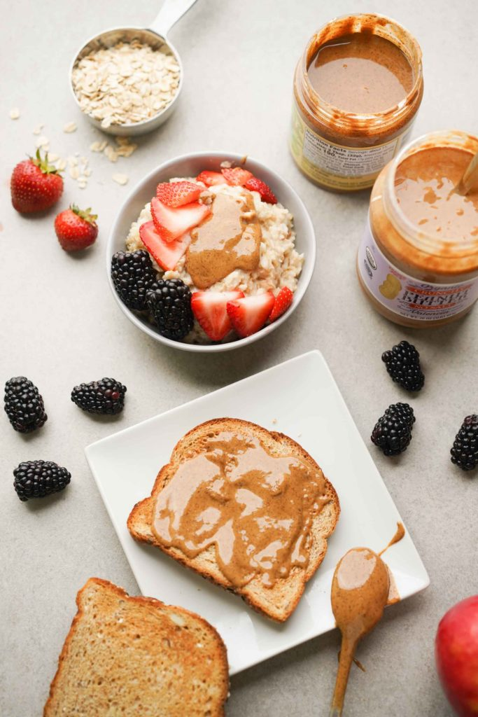 almond butter on oatmeal and toast