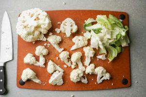 chopping up cauliflower