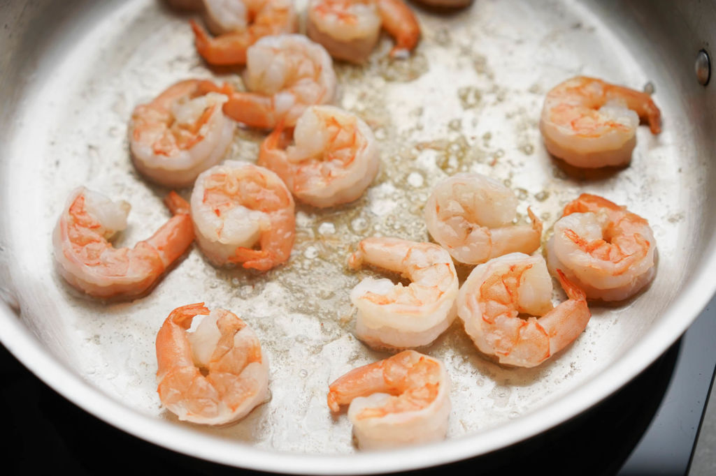 pink, cooked shrimp