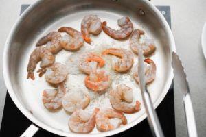 cooking shrimp in saute pan