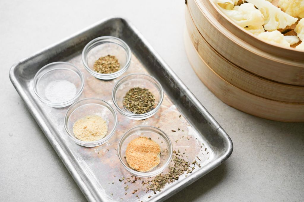 tray of seasoning for cauliflower